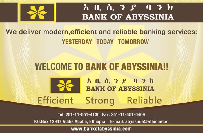 Opening at Bank of Abyssinia   Ethiopian Job Finder